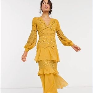 ASOS embroidered soft tiered mustard maxi dress
